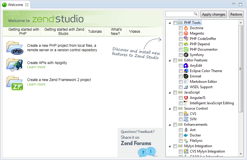 Zend Studio windows
