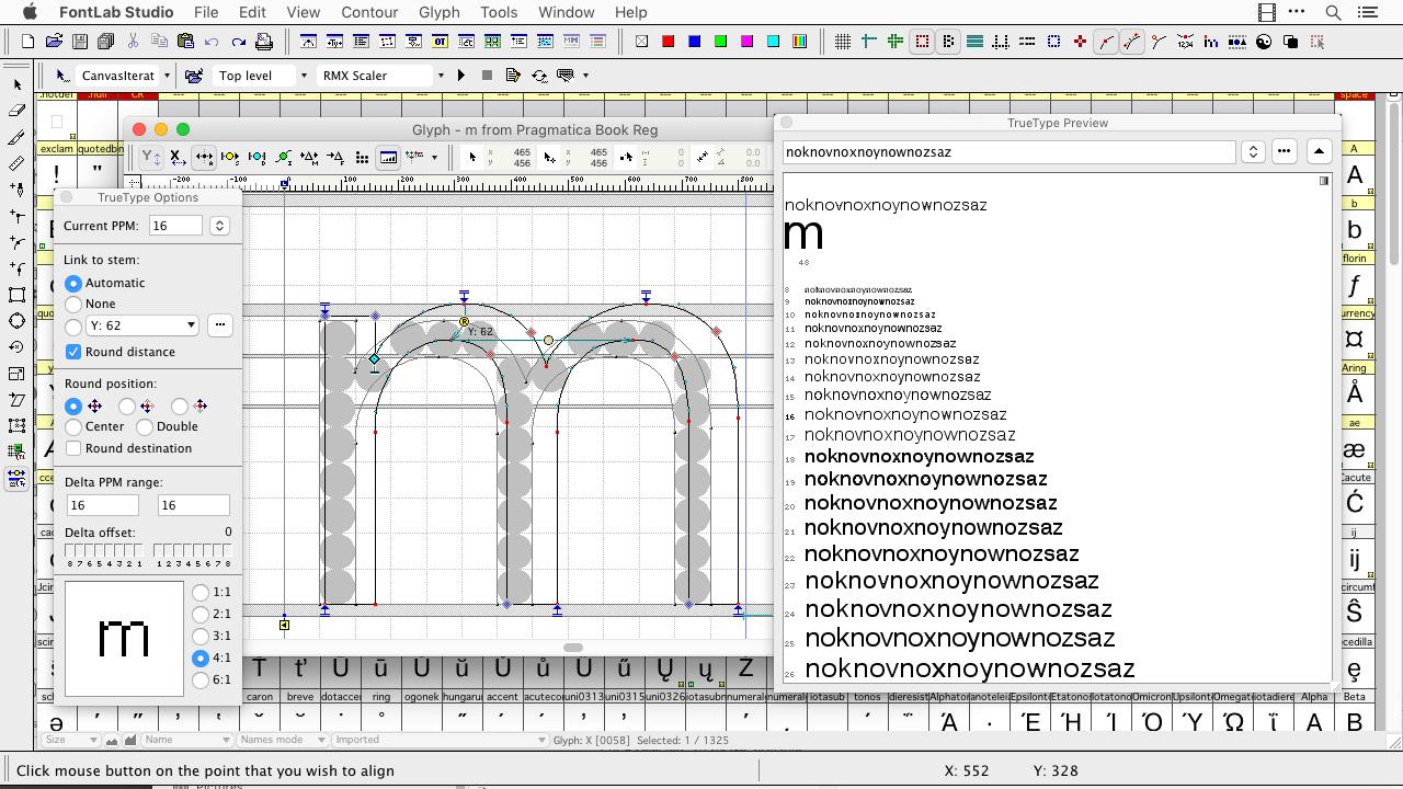 FontLab Studio windows