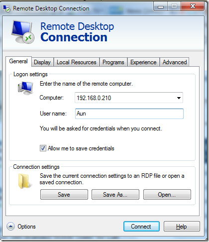 Remote Desktop Connection windows